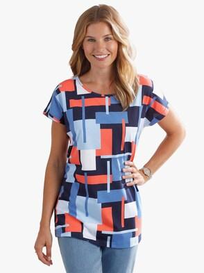 Tričko - korálová-modrá-vzor
