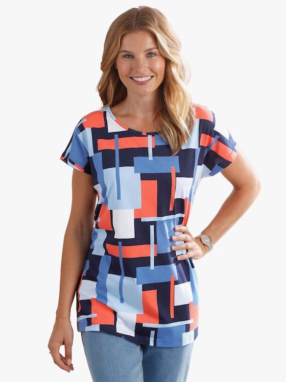 Shirt - koraal/blauw gedessineerd