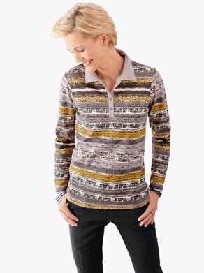 Poloshirt - kerrie/grijs gestreept