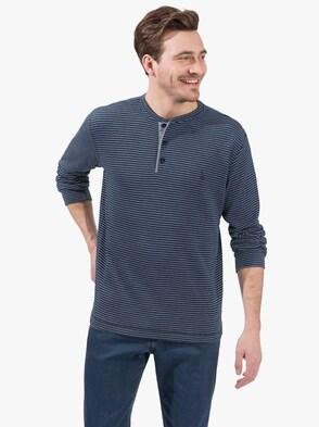 Langarm-Shirt - marine-grau-gestreift