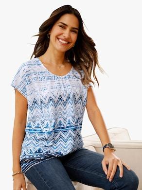 Tuniek - jeansblauw gedessineerd