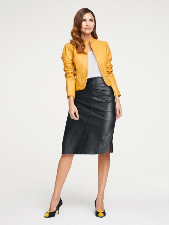 Ashley Brooke Leren jas - geel
