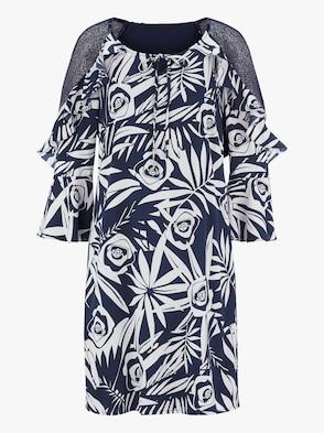 Kleid - marine-ecru-bedruckt