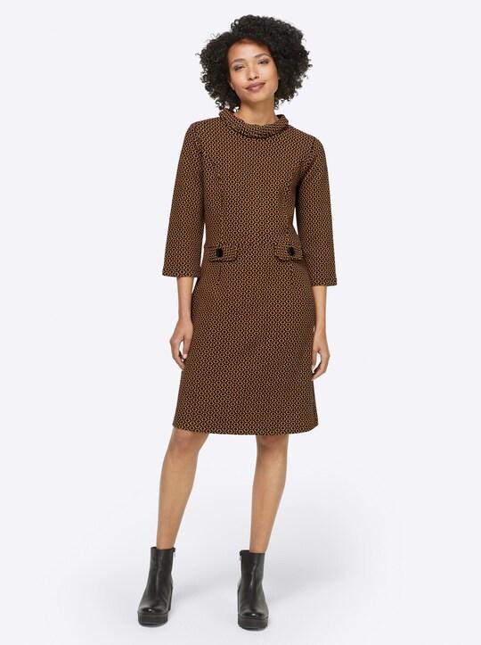 Linea Tesini Jersey-Kleid - ocker-schwarz-meliert