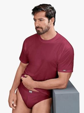 Shirt - mittelgrau + weinrot