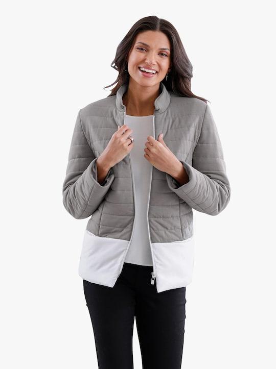 Prošívaná bunda - šedá-bílá