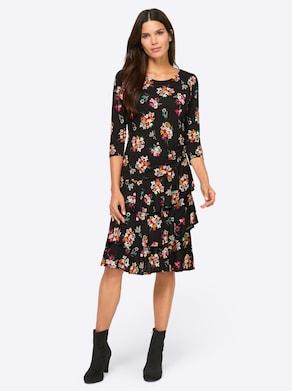 Ashley Brooke Jersey-Kleid - schwarz-magenta-bedruckt