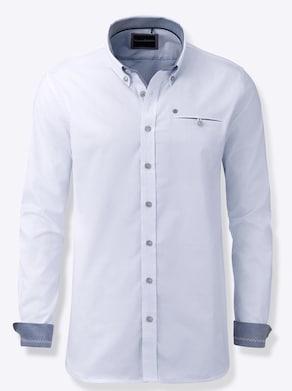 Marco Donati Langarm-Hemd - hellblau-weiß