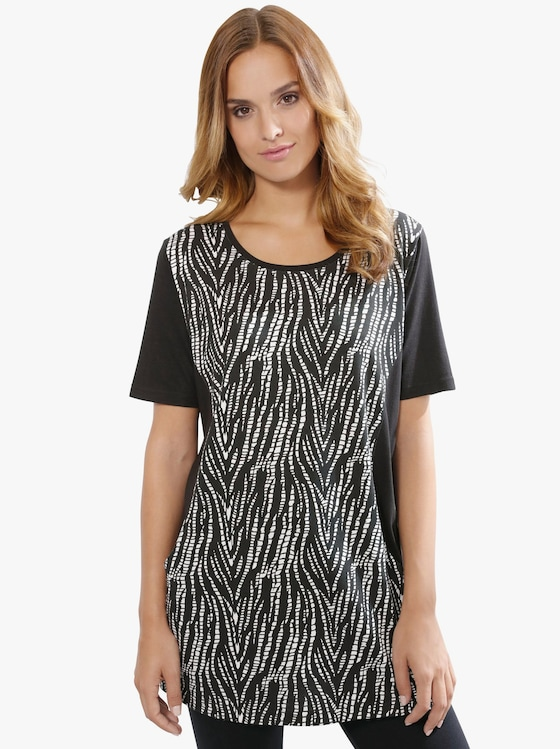 Longshirt - schwarz-weiß
