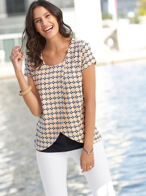Shirt - apricot/wit bedrukt
