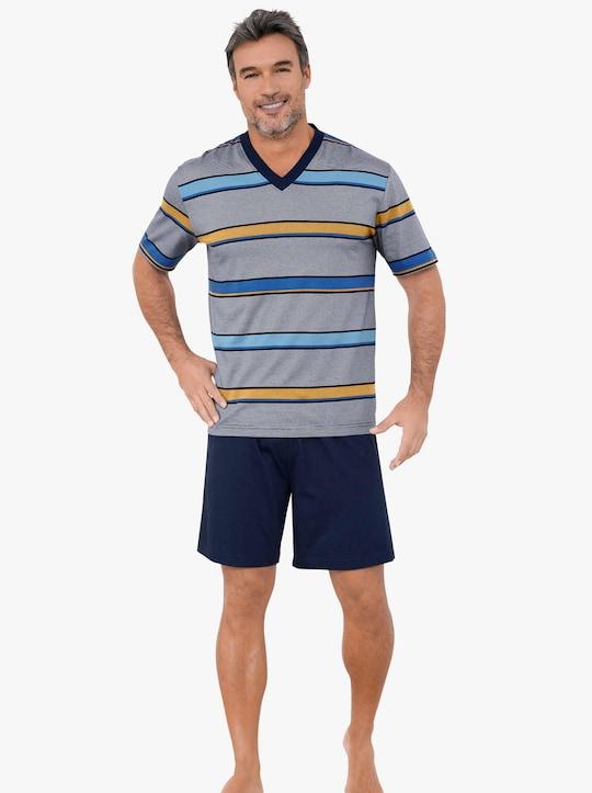 wäschepur Krátké pyžamo - námořnická modrá-žlutá-proužek