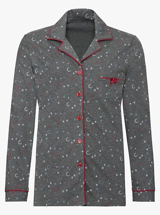 Pyjama - grau-meliert-gemustert