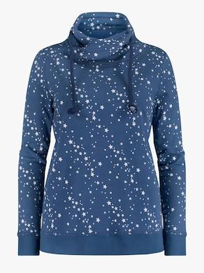 Sweatshirt - jeansblau-ecru-bedruckt