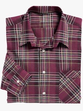 Košile s dlouhým rukávem - bordó-kostka