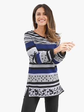 Lång tröja - kungsblå, mönstrad
