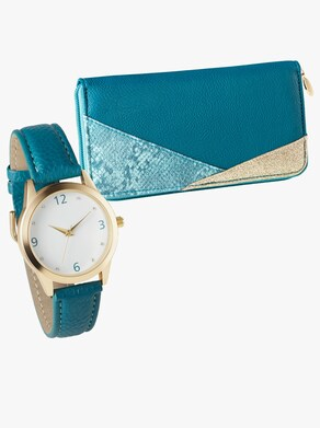 Geldbörse + Uhr - bleu-gemustert