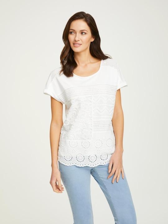 Linea Tesini Spitzen-Shirt - weiß