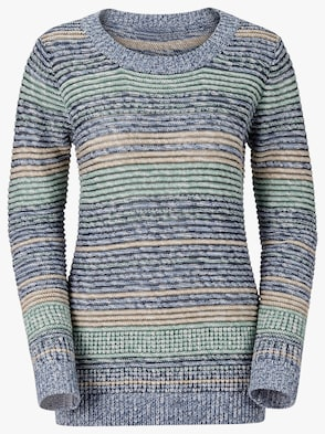 Pullover - mint-gestreift