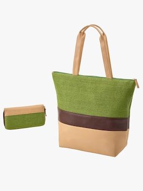 Tasche + Börse - grün-beige