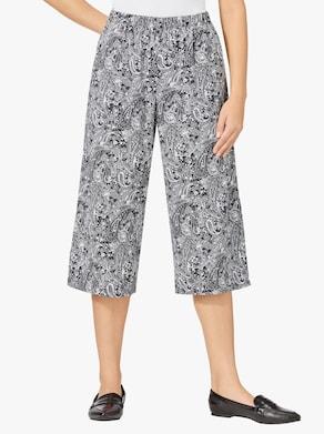 Kalhotová sukně - černá-bílá-vzor