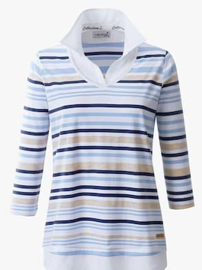 2-in-1-Shirt - marine-weiß-gestreift