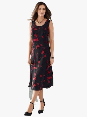 Kleid - schwarz-rot