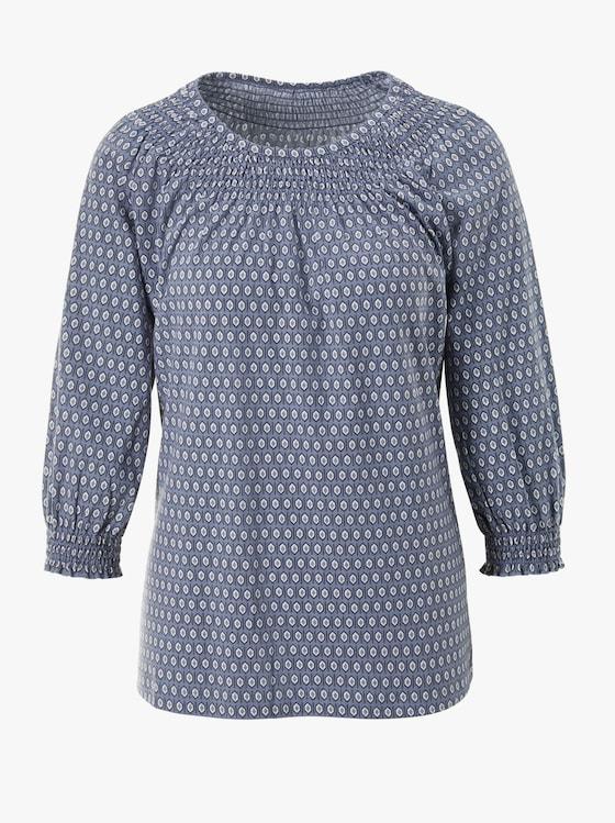 Shirt - rauchblau-gemustert