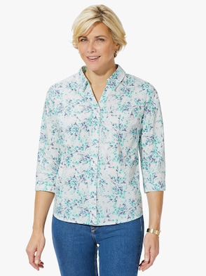 Blouse - turquoise geprint