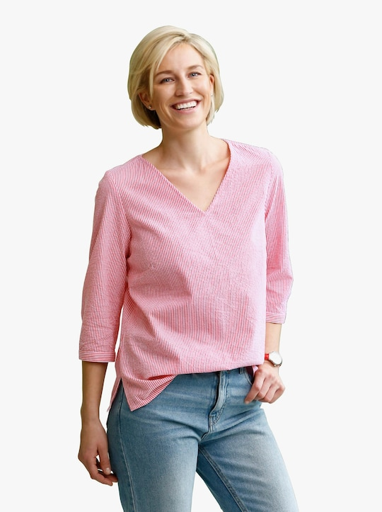 Comfortabele blouse - langoustine/wit gestreept