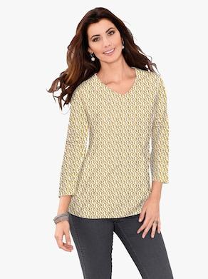 Shirt - oker/wit