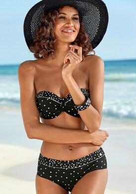 LASCANA Bügel-Bandeau-Bikini-Top - schwarz-weiß
