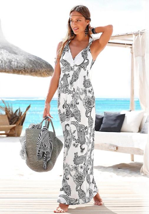 LASCANA Maxi-jurk - zwart/wit geprint