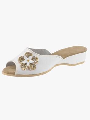 Pantoffels - wit/goudkleur