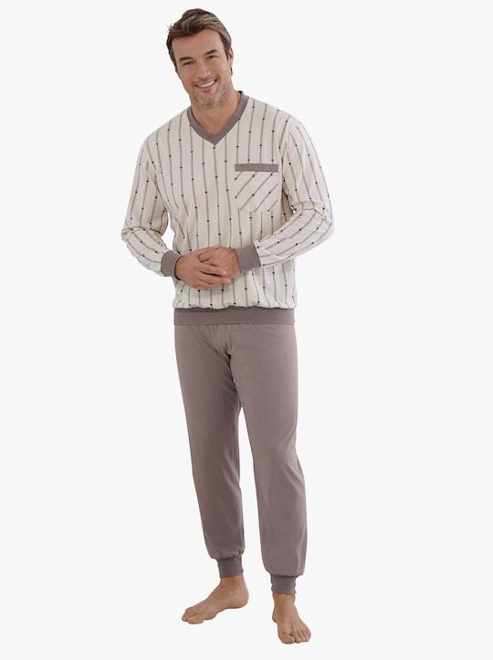 KINGsCLUB Schlafanzug - natur-braun