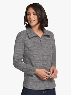 Fleece-Shirt - grau-meliert