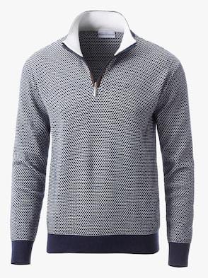 Pullover - marine-weiß