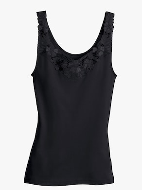 Thieme Achselhemd - weiß + schwarz