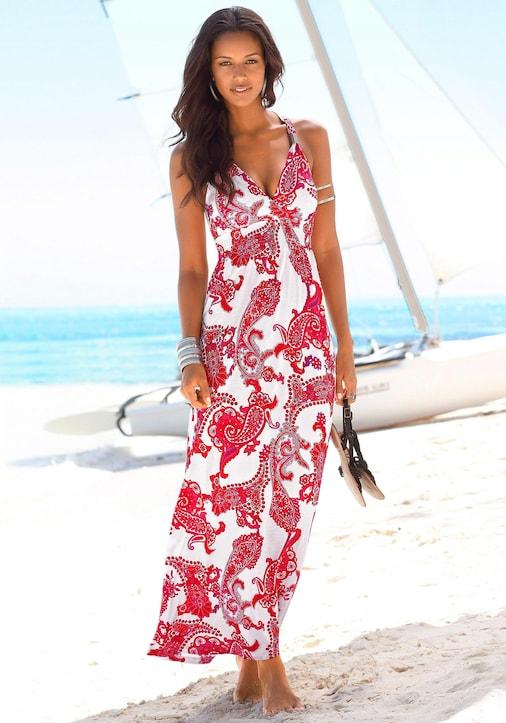 LASCANA Maxi-jurk - rood/wit geprint