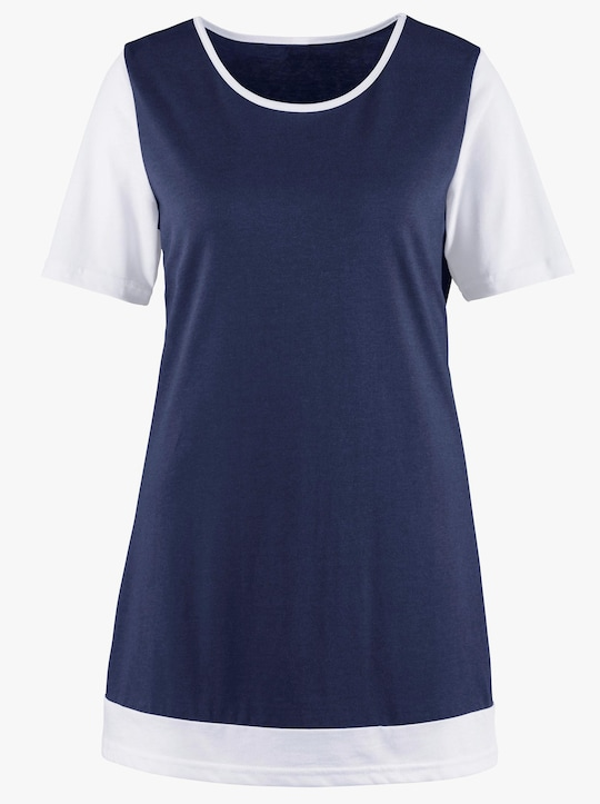 Longshirt - marine-weiß
