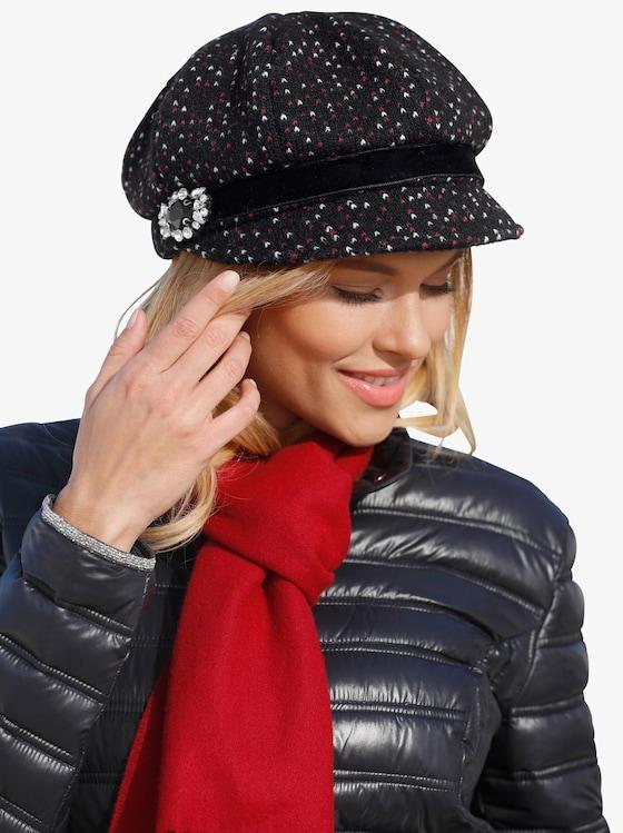 Mütze - schwarz-rot-gemustert
