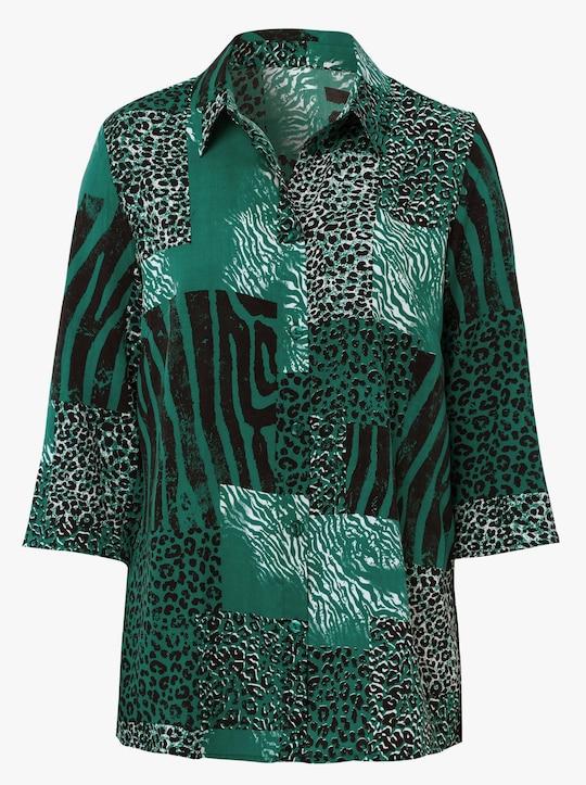 Bluse - dunkelgrün-bedruckt