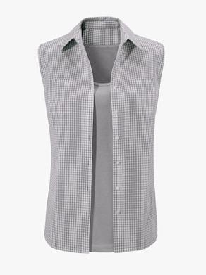 Mouwloze blouse - steengrijs geruit