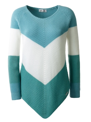 Collection L Pullover - turquoise/ecru