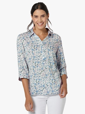 Bluse - jeansblau-bedruckt
