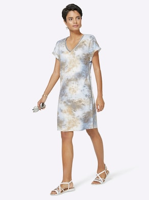 Jersey-Kleid - blau-beige-gemustert