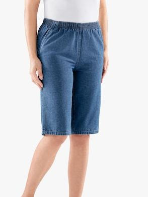 Bermuda-Jeans - blue-stone-washed