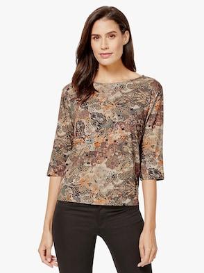 Shirt - braun-bedruckt