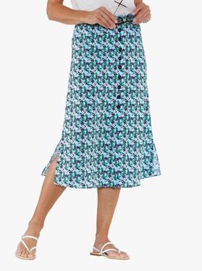 Pohodlná sukně - tmavěmodrá-potisk