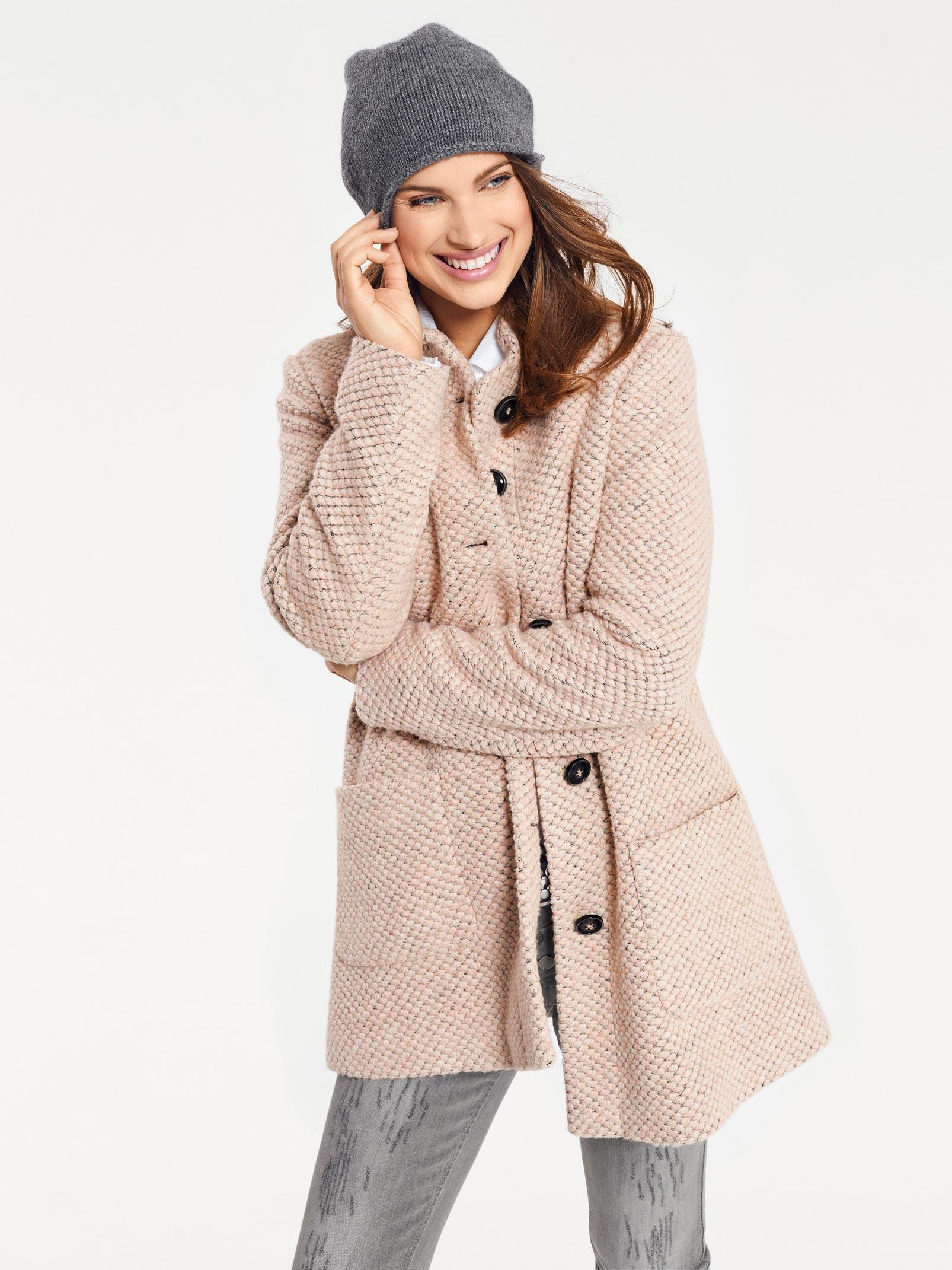 rosé Heine Damen Mantel mit Volant