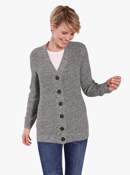 Pletený kabátek - antracitová-melír